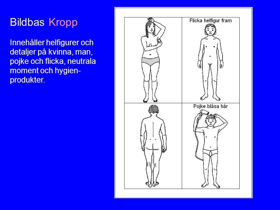 Bildbas Kropp Innehåller helfigurer och detaljer på kvinna, man, pojke och flicka, neutrala moment och hygien- produkter.