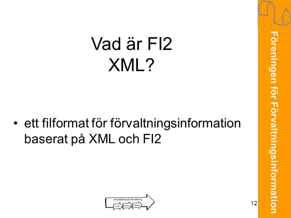 Föreningen för Förvaltningsinformation 12 Vad är FI2 XML? •ett filformat för förvaltningsinformation baserat på XML och FI2