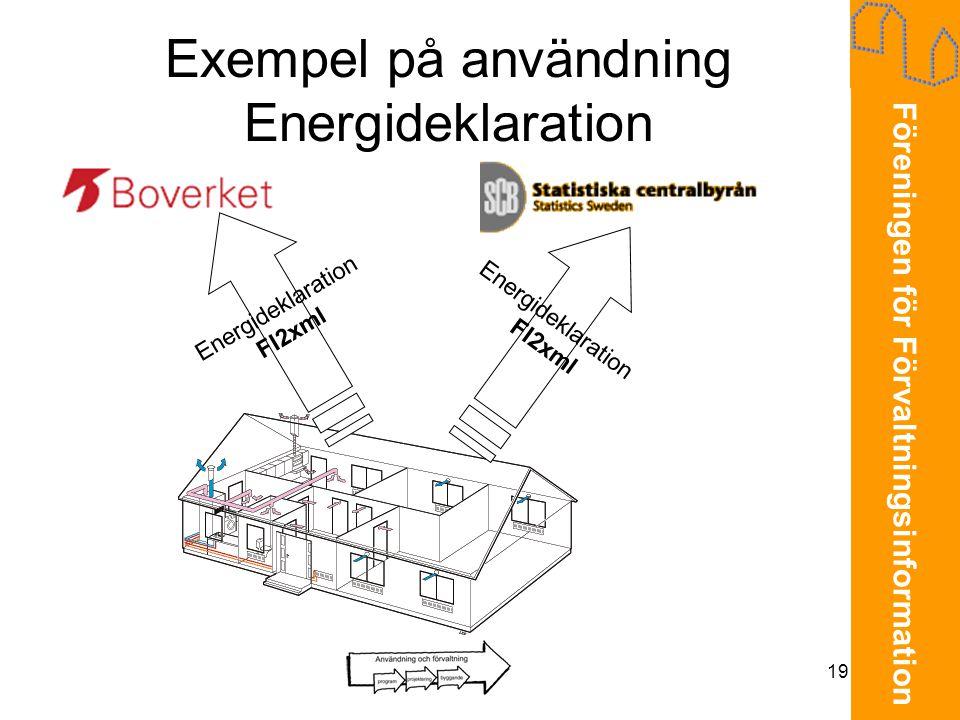 Föreningen för Förvaltningsinformation 19 Exempel på användning Energideklaration Energideklaration FI2xml Energideklaration FI2xml