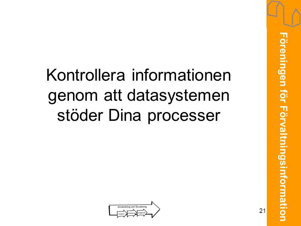 Föreningen för Förvaltningsinformation 21 Kontrollera informationen genom att datasystemen stöder Dina processer