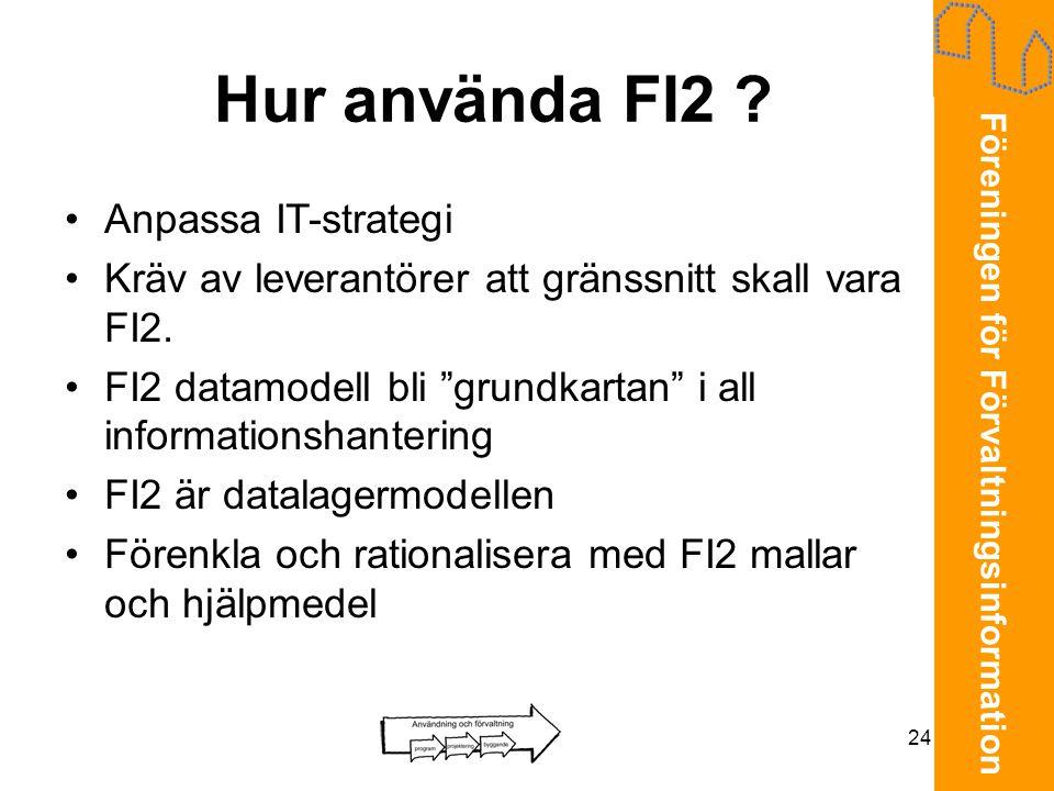 Föreningen för Förvaltningsinformation 24 Hur använda FI2 ? •Anpassa IT-strategi •Kräv av leverantörer att gränssnitt skall vara FI2. •FI2 datamodell