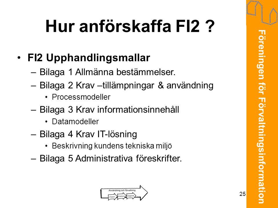 Föreningen för Förvaltningsinformation 25 Hur anförskaffa FI2 ? •FI2 Upphandlingsmallar –Bilaga 1 Allmänna bestämmelser. –Bilaga 2 Krav –tillämpningar