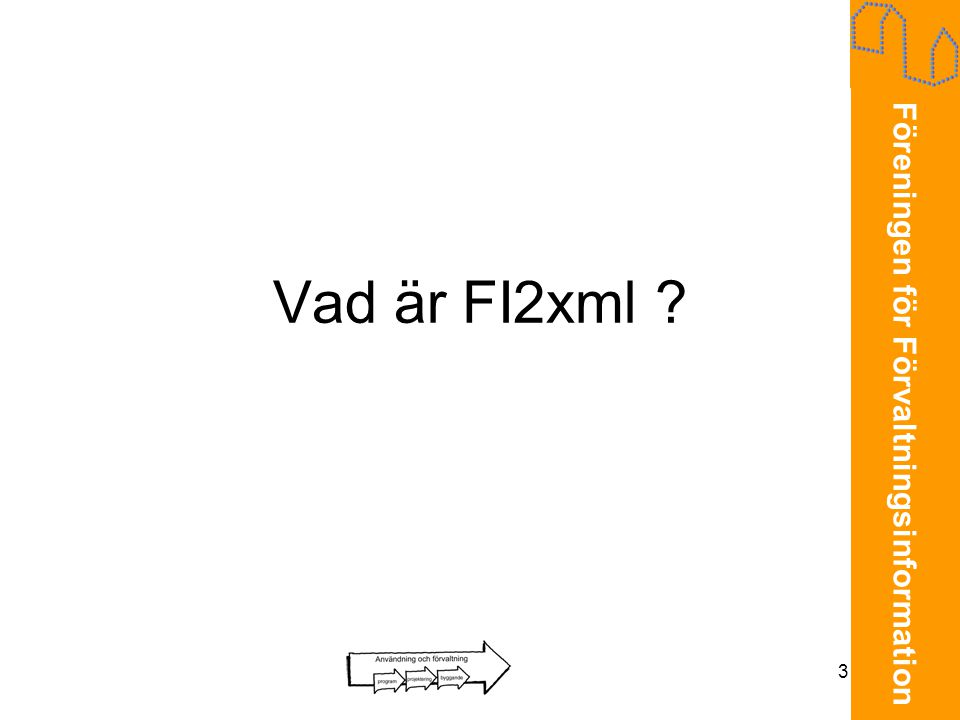 Föreningen för Förvaltningsinformation 3 Vad är FI2xml ?