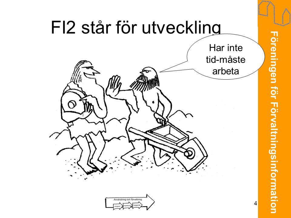 Föreningen för Förvaltningsinformation 4 FI2 står för utveckling Har inte tid-måste arbeta