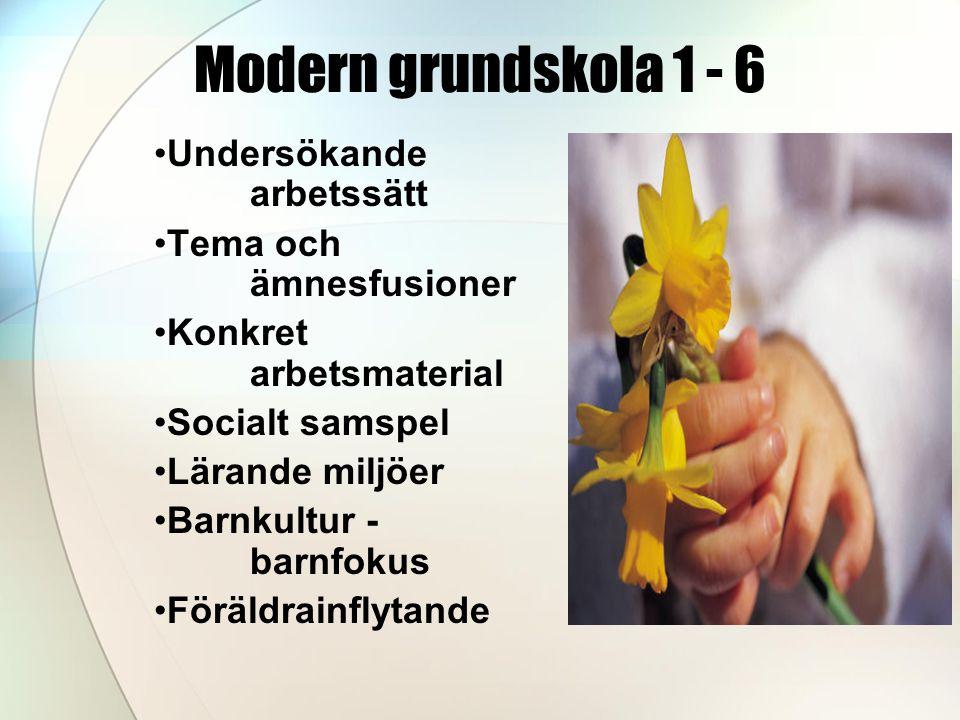 Modern grundskola 1 - 6 •Undersökande arbetssätt •Tema och ämnesfusioner •Konkret arbetsmaterial •Socialt samspel •Lärande miljöer •Barnkultur - barnfokus •Föräldrainflytande