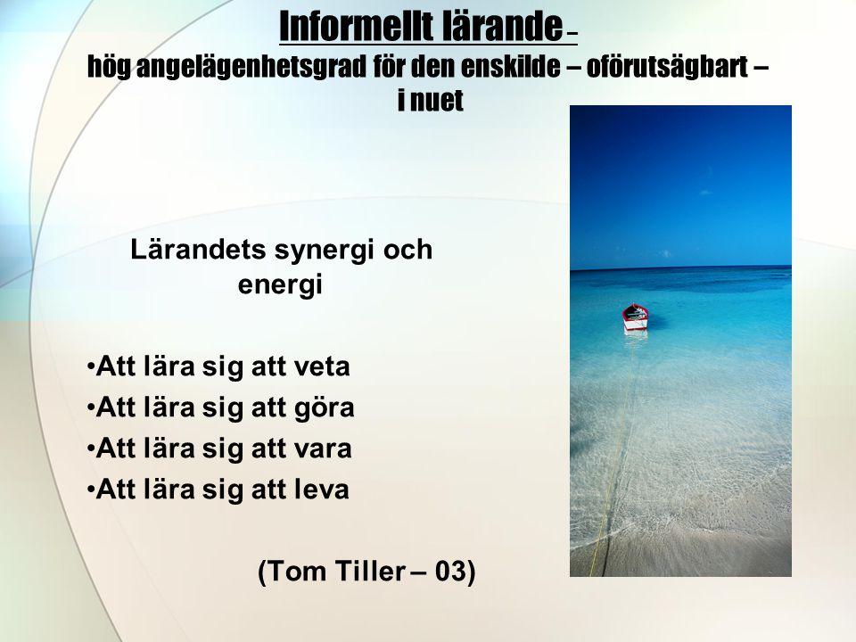 Informellt lärande – hög angelägenhetsgrad för den enskilde – oförutsägbart – i nuet Lärandets synergi och energi •Att lära sig att veta •Att lära sig att göra •Att lära sig att vara •Att lära sig att leva (Tom Tiller – 03)