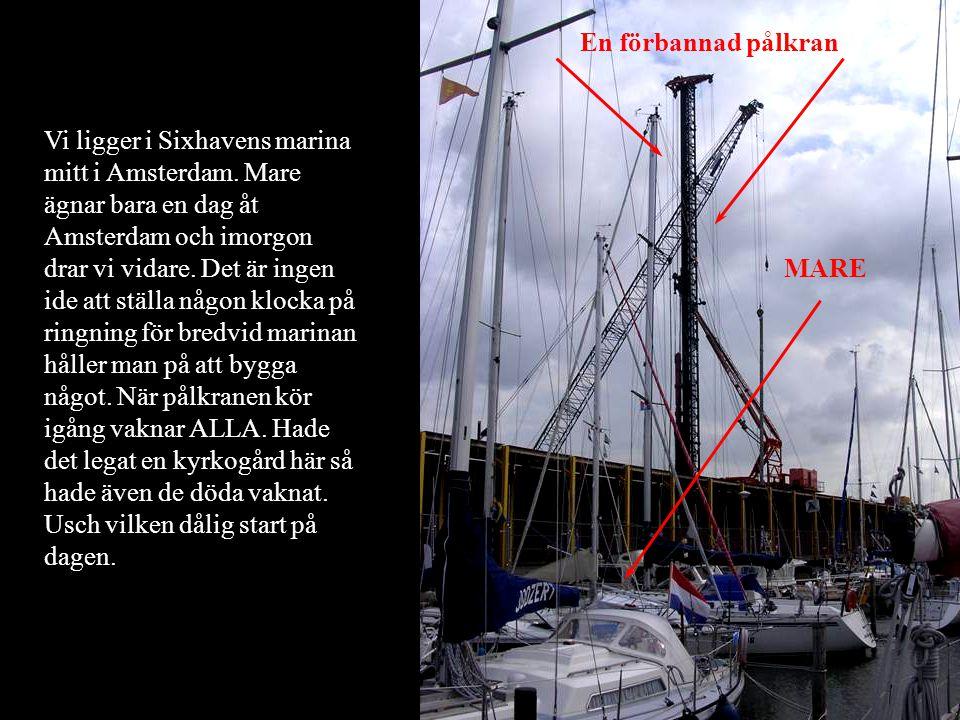 Vi ligger i Sixhavens marina mitt i Amsterdam. Mare ägnar bara en dag åt Amsterdam och imorgon drar vi vidare. Det är ingen ide att ställa någon klock