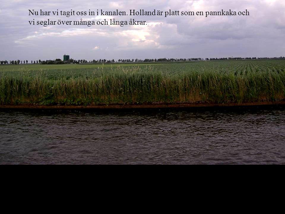 Nu har vi tagit oss in i kanalen. Holland är platt som en pannkaka och vi seglar över många och långa åkrar.