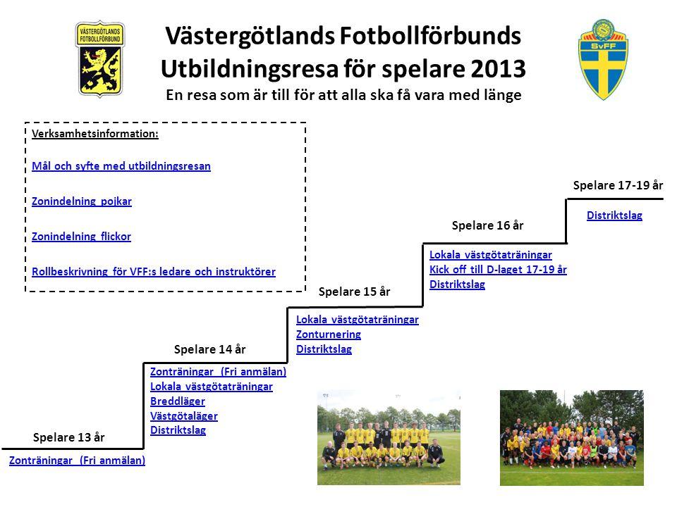 Västergötlands Fotbollförbunds Utbildningsresa för spelare 2013 En resa som är till för att alla ska få vara med länge Mål och syfte med utbildningsresan Att inspirera, entusiasmera och motivera ungdomar att välja och satsa på fotbollen.
