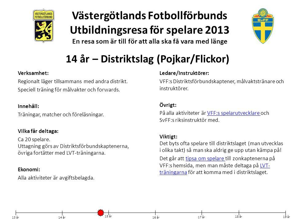Västergötlands Fotbollförbunds Utbildningsresa för spelare 2013 En resa som är till för att alla ska få vara med länge Verksamhet: Regionalt läger til