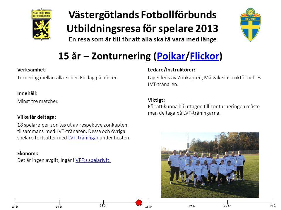 Västergötlands Fotbollförbunds Utbildningsresa för spelare 2013 En resa som är till för att alla ska få vara med länge Verksamhet: Turnering mellan al