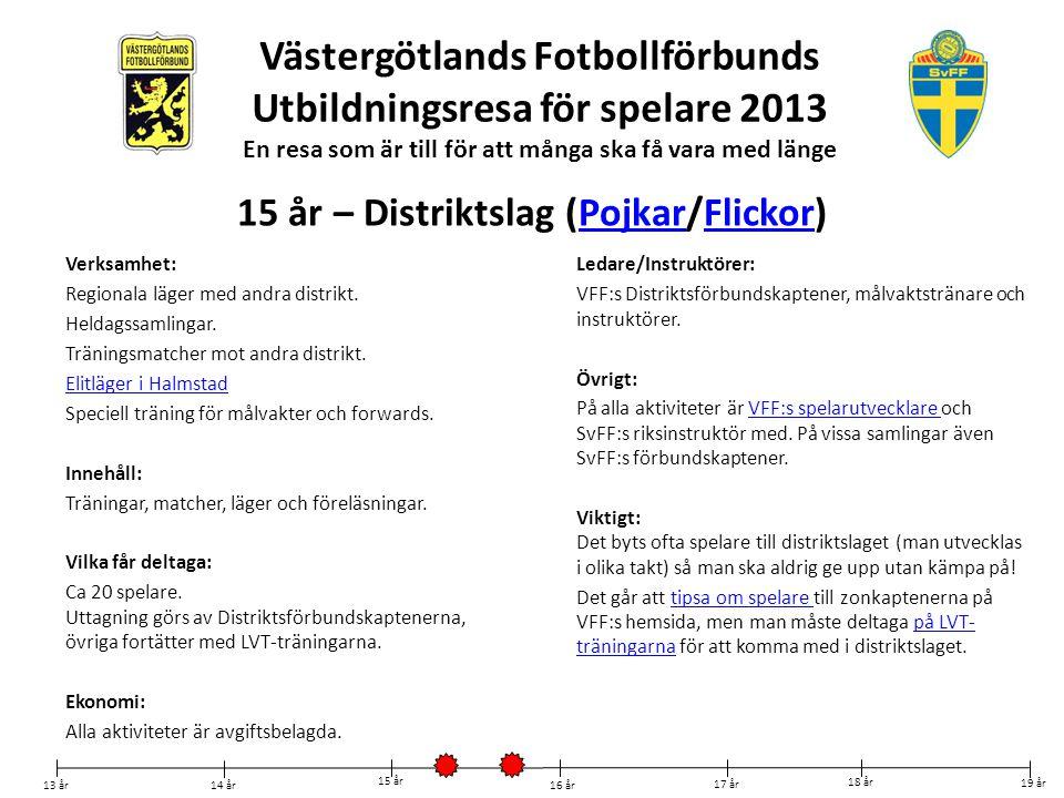 Västergötlands Fotbollförbunds Utbildningsresa för spelare 2013 En resa som är till för att många ska få vara med länge Verksamhet: Regionala läger me
