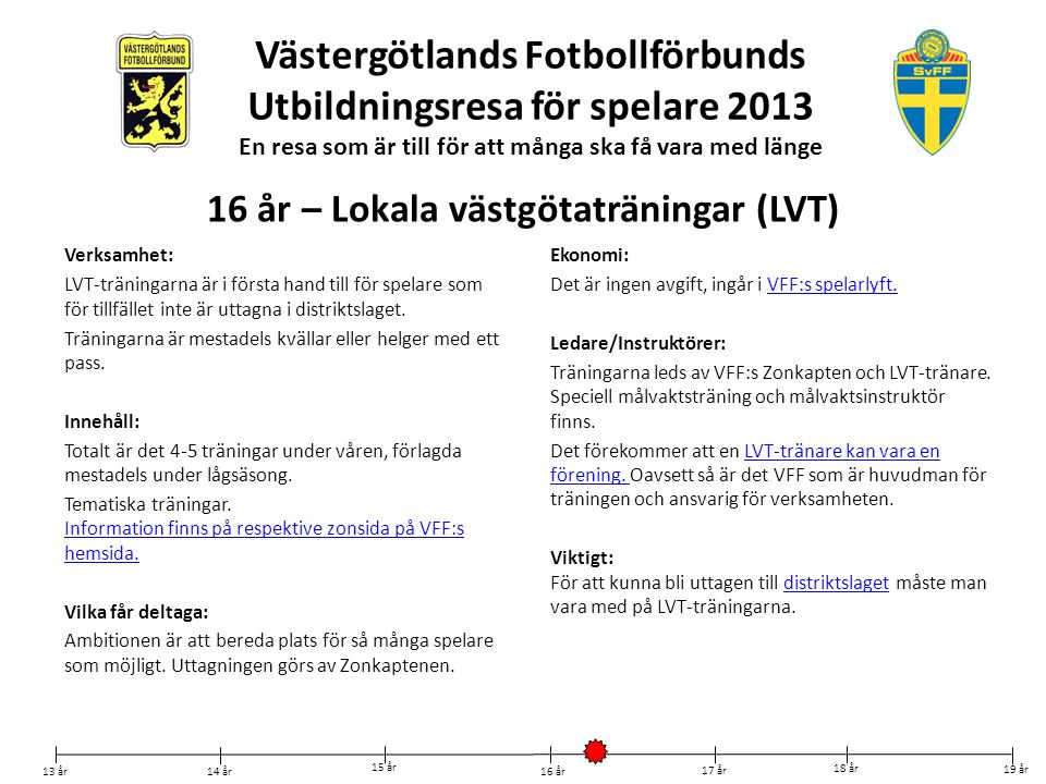 Västergötlands Fotbollförbunds Utbildningsresa för spelare 2013 En resa som är till för att många ska få vara med länge Verksamhet: LVT-träningarna är
