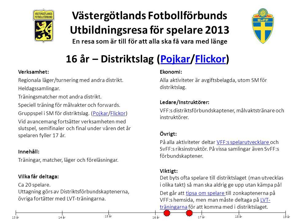 Västergötlands Fotbollförbunds Utbildningsresa för spelare 2013 En resa som är till för att alla ska få vara med länge Verksamhet: Regionala läger/tur