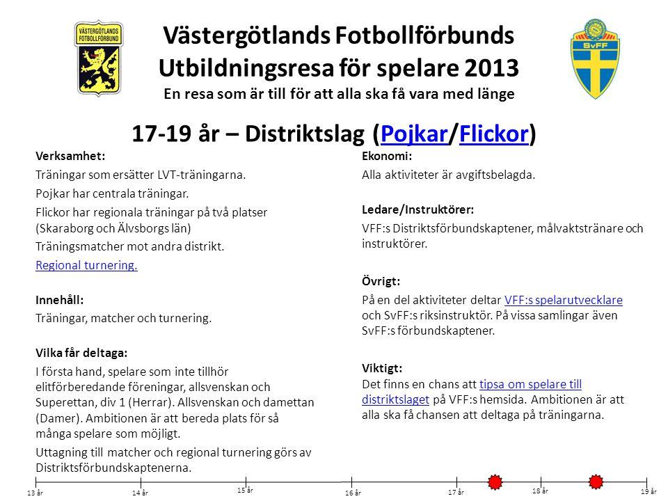 Västergötlands Fotbollförbunds Utbildningsresa för spelare 2013 En resa som är till för att alla ska få vara med länge Verksamhet: Träningar som ersät