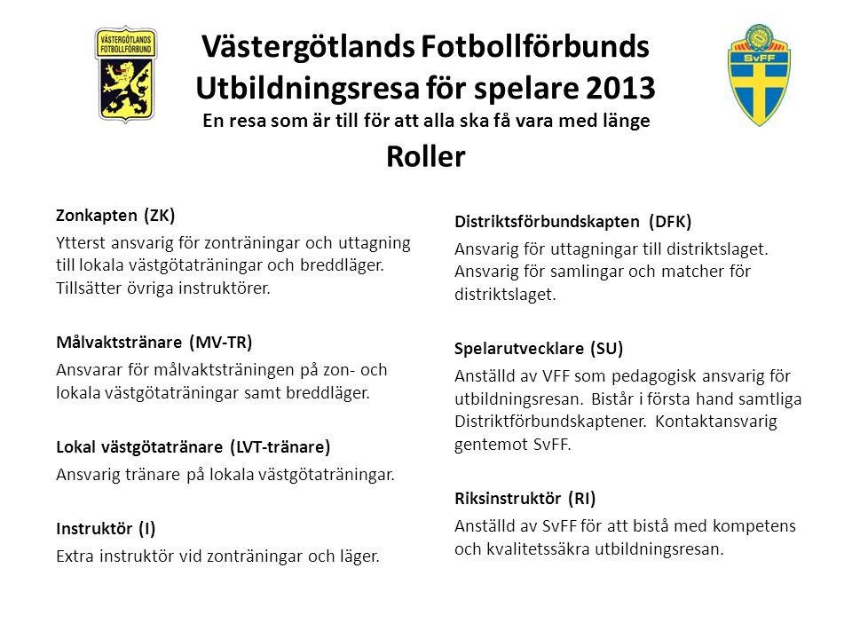 Västergötlands Fotbollförbunds Utbildningsresa för spelare 2013 En resa som är till för att alla ska få vara med länge Verksamhet: Fyra endagars zonträningar i varje zon.