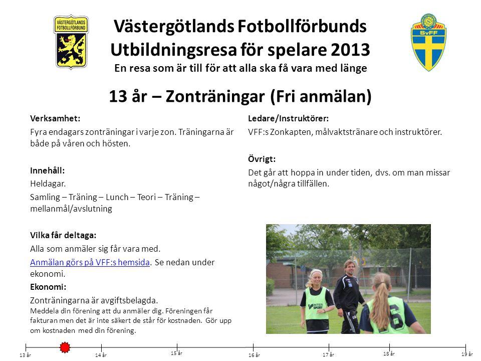 Västergötlands Fotbollförbunds Utbildningsresa för spelare 2013 En resa som är till för att alla ska få vara med länge Verksamhet: Endagars zonträning i varje zon på våren Innehåll: Heldag.