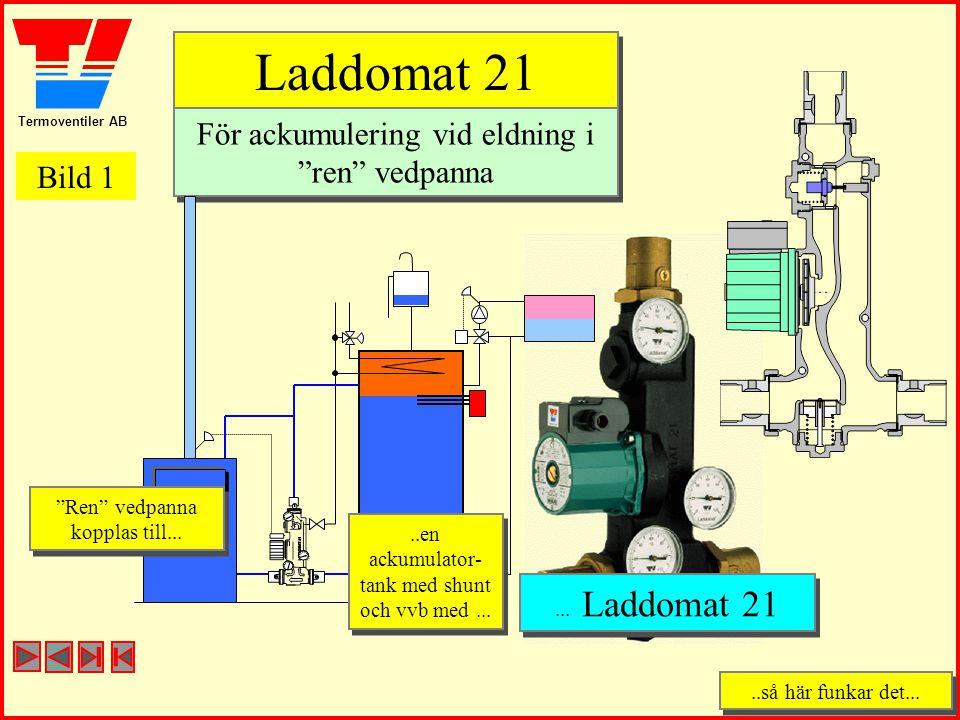 """Termoventiler AB..så här funkar det.....så här funkar det... Laddomat 21 Laddomat 21 För ackumulering vid eldning i """"ren"""" vedpanna För ackumulering vi"""