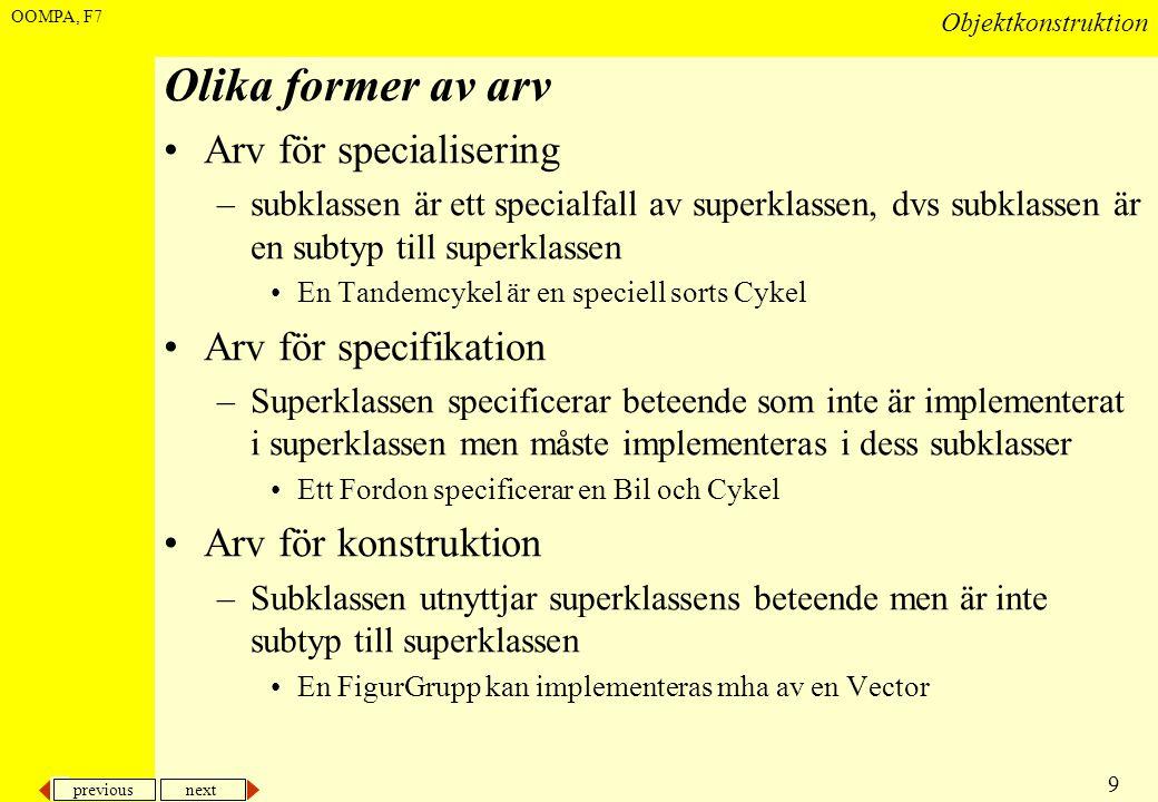 previous next 9 Objektkonstruktion OOMPA, F7 Olika former av arv •Arv för specialisering –subklassen är ett specialfall av superklassen, dvs subklasse