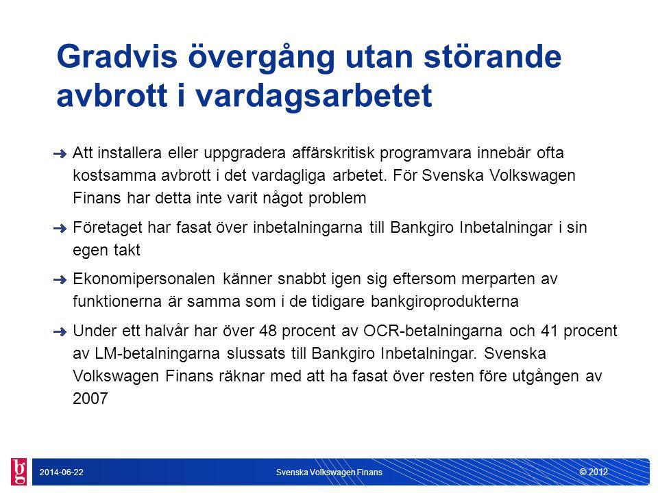 © 2012 2014-06-22Svenska Volkswagen Finans Gradvis övergång utan störande avbrott i vardagsarbetet Att installera eller uppgradera affärskritisk progr