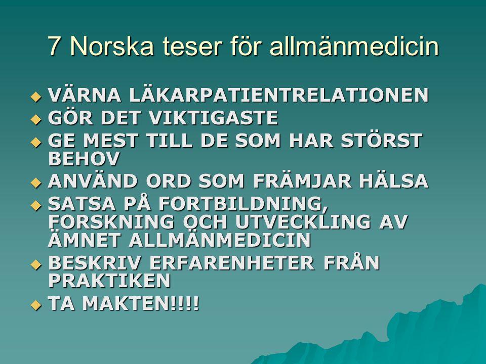 7 Norska teser för allmänmedicin  VÄRNA LÄKARPATIENTRELATIONEN  GÖR DET VIKTIGASTE  GE MEST TILL DE SOM HAR STÖRST BEHOV  ANVÄND ORD SOM FRÄMJAR HÄLSA  SATSA PÅ FORTBILDNING, FORSKNING OCH UTVECKLING AV ÄMNET ALLMÄNMEDICIN  BESKRIV ERFARENHETER FRÅN PRAKTIKEN  TA MAKTEN!!!!