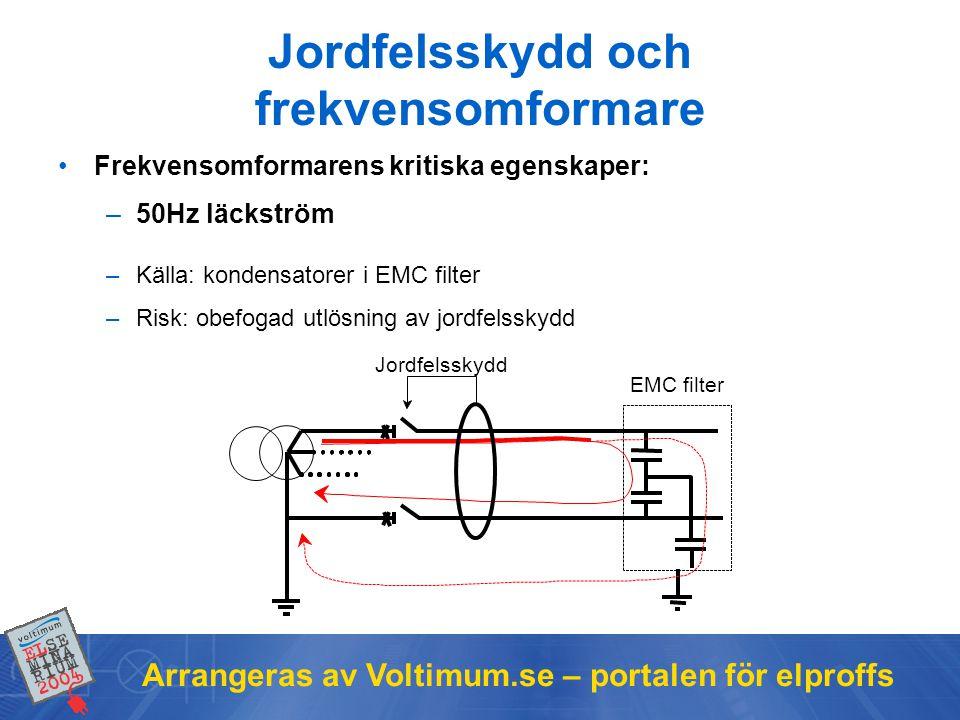 Arrangeras av Voltimum.se – portalen för elproffs Jordfelsskydd och frekvensomformare •Frekvensomformarens kritiska egenskaper: –50Hz läckström –Källa: kondensatorer i EMC filter –Risk: obefogad utlösning av jordfelsskydd EMC filter Jordfelsskydd