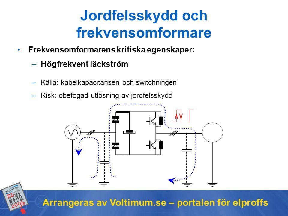 Arrangeras av Voltimum.se – portalen för elproffs Jordfelsskydd och frekvensomformare •Frekvensomformarens kritiska egenskaper: –Högfrekvent läckström –Källa: kabelkapacitansen och switchningen –Risk: obefogad utlösning av jordfelsskydd