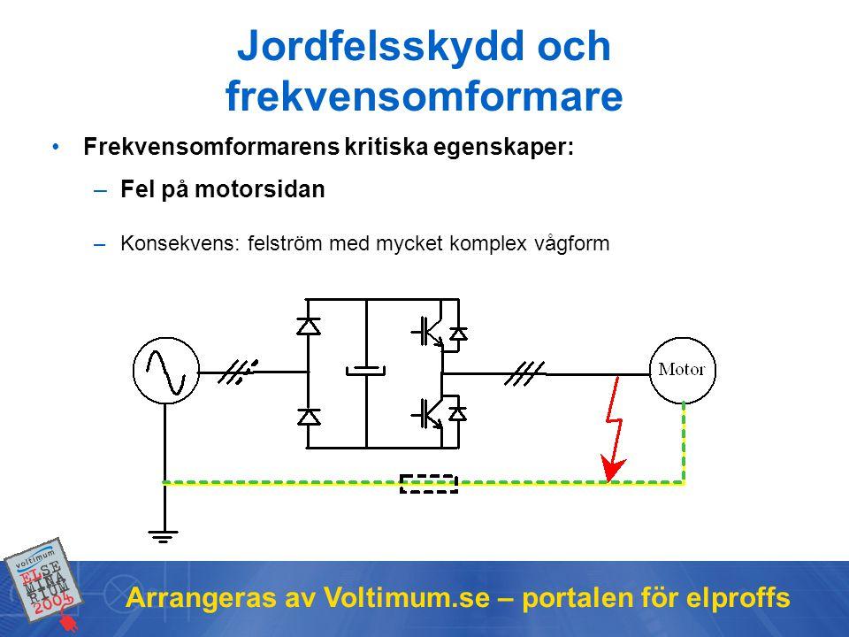 Arrangeras av Voltimum.se – portalen för elproffs Jordfelsskydd och frekvensomformare •Frekvensomformarens kritiska egenskaper: –Fel på motorsidan –Konsekvens: felström med mycket komplex vågform