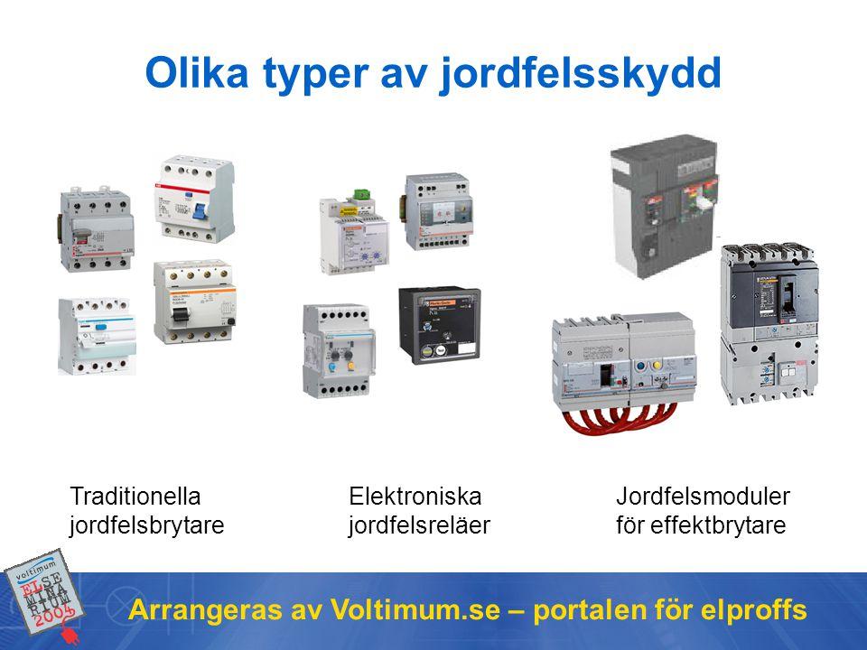 Arrangeras av Voltimum.se – portalen för elproffs Olika typer av jordfelsskydd Traditionella jordfelsbrytare Elektroniska jordfelsreläer Jordfelsmoduler för effektbrytare