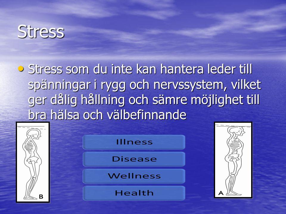 Stress • Stress som du inte kan hantera leder till spänningar i rygg och nervssystem, vilket ger dålig hållning och sämre möjlighet till bra hälsa och välbefinnande