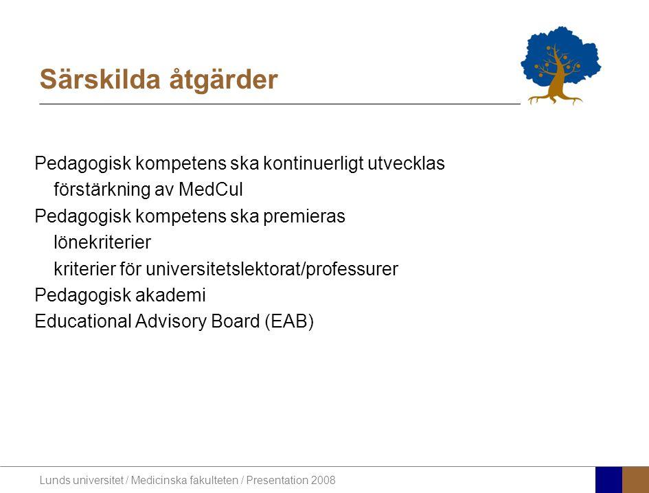 Lunds universitet / Medicinska fakulteten / Presentation 2008 Särskilda åtgärder Pedagogisk kompetens ska kontinuerligt utvecklas förstärkning av MedCul Pedagogisk kompetens ska premieras lönekriterier kriterier för universitetslektorat/professurer Pedagogisk akademi Educational Advisory Board (EAB)