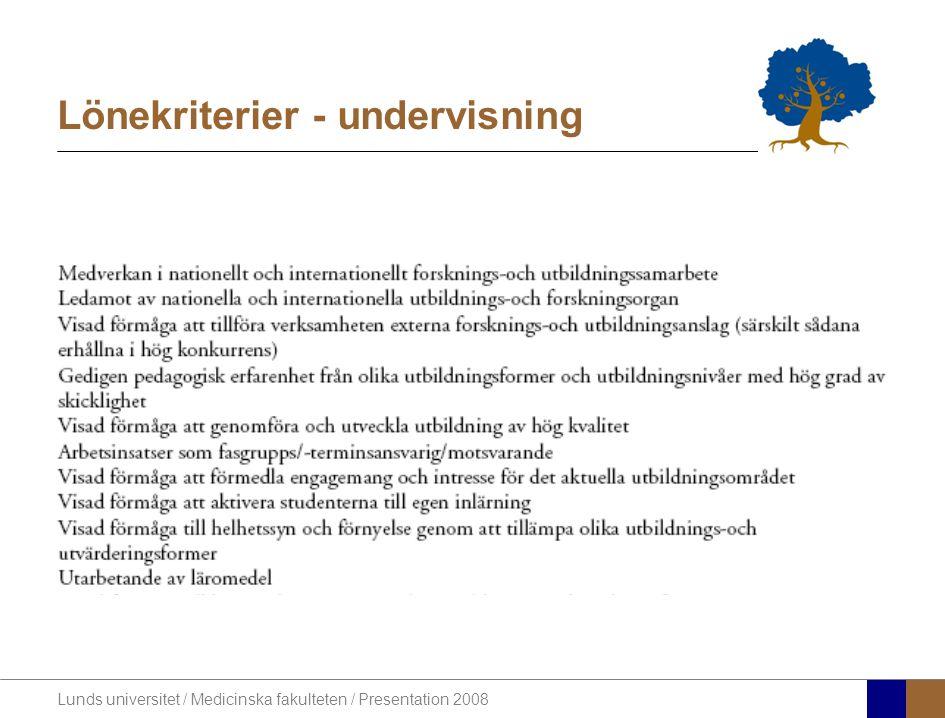 Lunds universitet / Medicinska fakulteten / Presentation 2008 Lönekriterier - undervisning