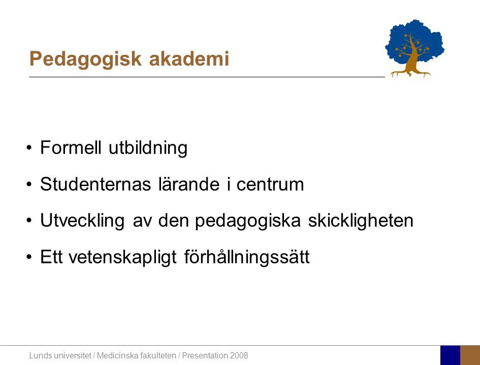 Lunds universitet / Medicinska fakulteten / Presentation 2008 Pedagogisk akademi •Formell utbildning •Studenternas lärande i centrum •Utveckling av den pedagogiska skickligheten •Ett vetenskapligt förhållningssätt