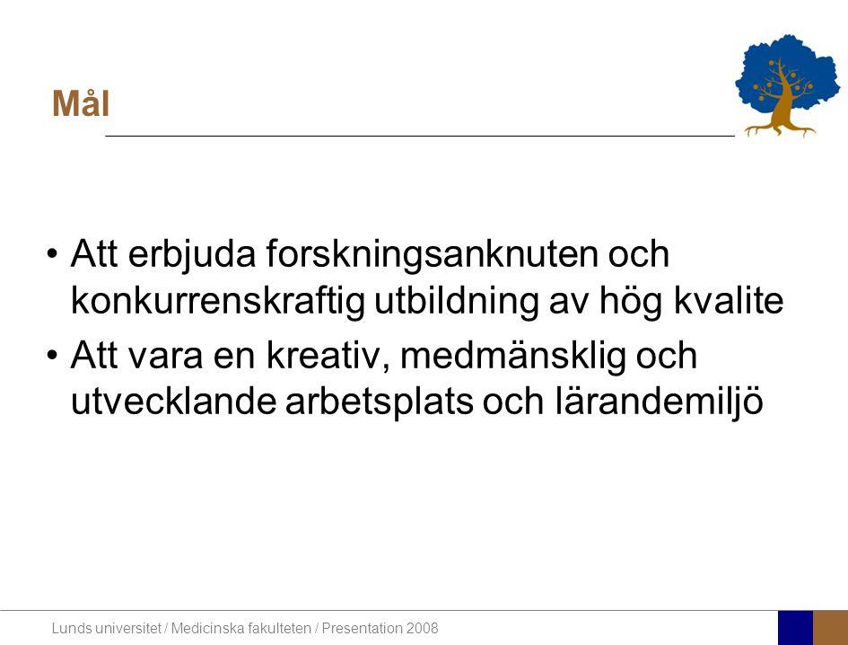 Lunds universitet / Medicinska fakulteten / Presentation 2008 Mål •Att erbjuda forskningsanknuten och konkurrenskraftig utbildning av hög kvalite •Att vara en kreativ, medmänsklig och utvecklande arbetsplats och lärandemiljö