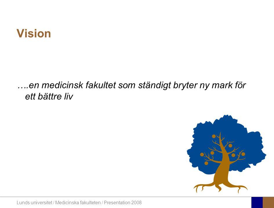 Lunds universitet / Medicinska fakulteten / Presentation 2008 Vision ….en medicinsk fakultet som ständigt bryter ny mark för ett bättre liv