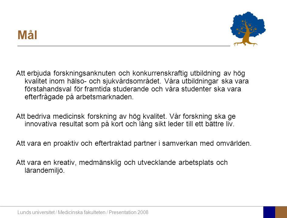 Lunds universitet / Medicinska fakulteten / Presentation 2008 Mål Att erbjuda forskningsanknuten och konkurrenskraftig utbildning av hög kvalitet inom hälso- och sjukvårdsområdet.