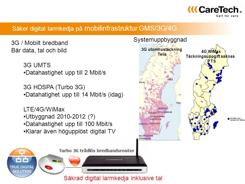 Säker digital larmkedja på mobilinfrastruktur GMS/3G/4G 3G / Mobilt bredband Bär data, tal och bild 3G UMTS •Datahastighet upp till 2 Mbit/s 3G HDSPA