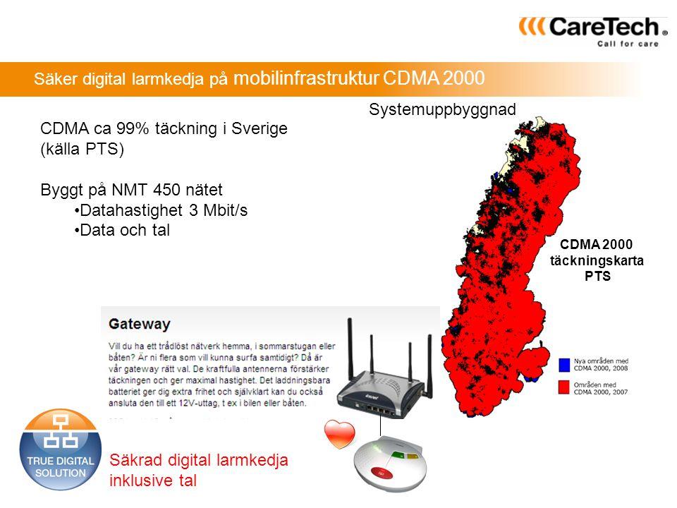 Säker digital larmkedja på mobilinfrastruktur CDMA 2000 CDMA ca 99% täckning i Sverige (källa PTS) Byggt på NMT 450 nätet •Datahastighet 3 Mbit/s •Dat