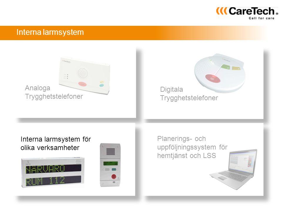 Planerings- och uppföljningssystem för hemtjänst och LSS Analoga Trygghetstelefoner Interna larmsystem för olika verksamheter Digitala Trygghetstelefo