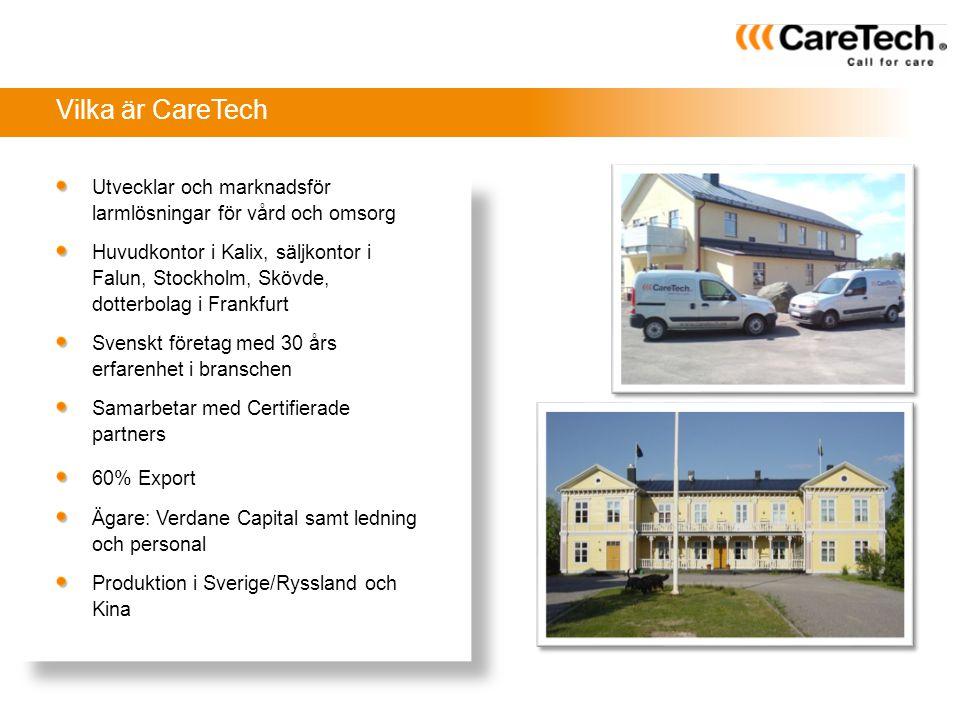 Utvecklar och marknadsför larmlösningar för vård och omsorg Huvudkontor i Kalix, säljkontor i Falun, Stockholm, Skövde, dotterbolag i Frankfurt Svensk
