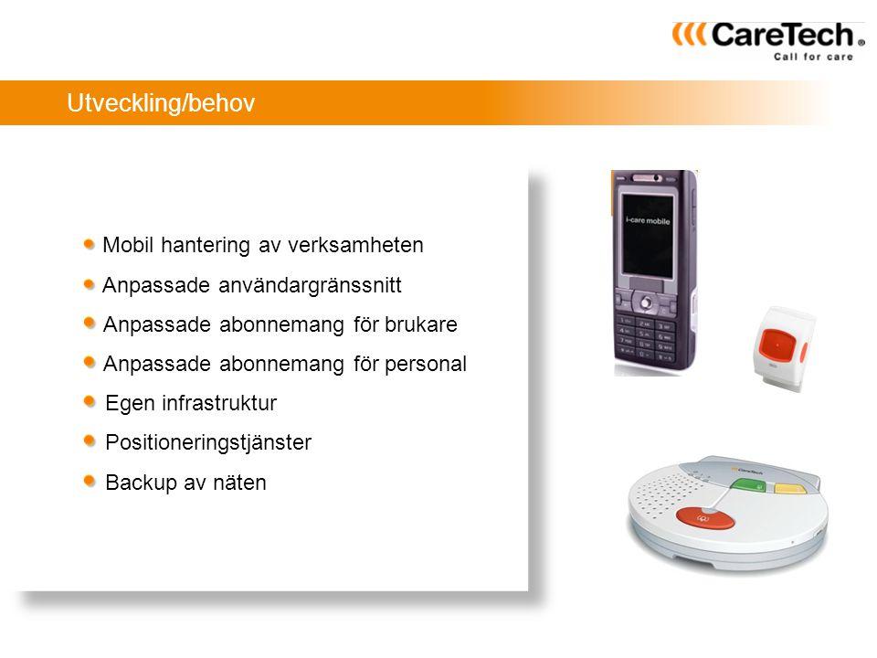 Utveckling/behov Mobil hantering av verksamheten Anpassade användargränssnitt Anpassade abonnemang för brukare Anpassade abonnemang för personal Egen
