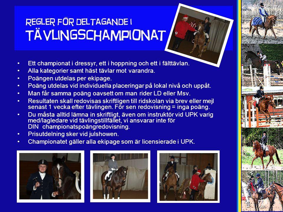 •Ett championat i dressyr, ett i hoppning och ett i fälttävlan. •Alla kategorier samt häst tävlar mot varandra. •Poängen utdelas per ekipage. •Poäng u
