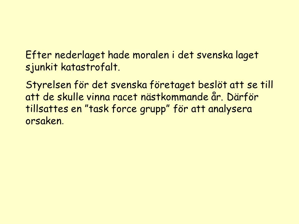 Efter nederlaget hade moralen i det svenska laget sjunkit katastrofalt. Styrelsen för det svenska företaget beslöt att se till att de skulle vinna rac