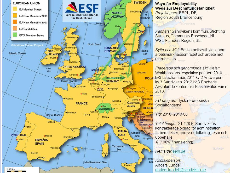 Ways for Employability Wege zur Beschäftungsfähigkeit. Projektägare: EEPL, DE, Region South Brandenburg Partners: Sandvikens kommun, Stichting Surplus