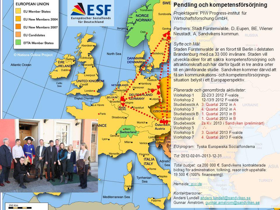 Pendling och kompetensförsörjning Projektägare: PIW Progress-institut für Wirtschaftsforschung GmbH, Partners: Stadt Fürstenwalde, D, Eupen, BE, Wiene
