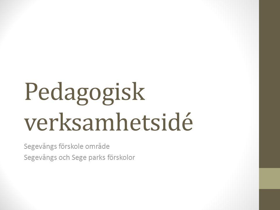 Pedagogisk verksamhetsidé Segevångs förskole område Segevångs och Sege parks förskolor