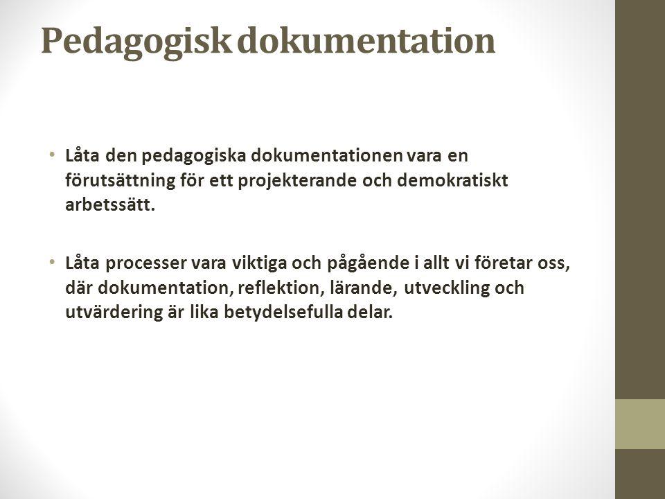 Pedagogisk dokumentation • Låta den pedagogiska dokumentationen vara en förutsättning för ett projekterande och demokratiskt arbetssätt. • Låta proces