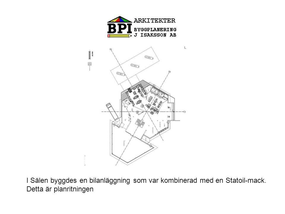I Sälen byggdes en bilanläggning som var kombinerad med en Statoil-mack. Detta är planritningen