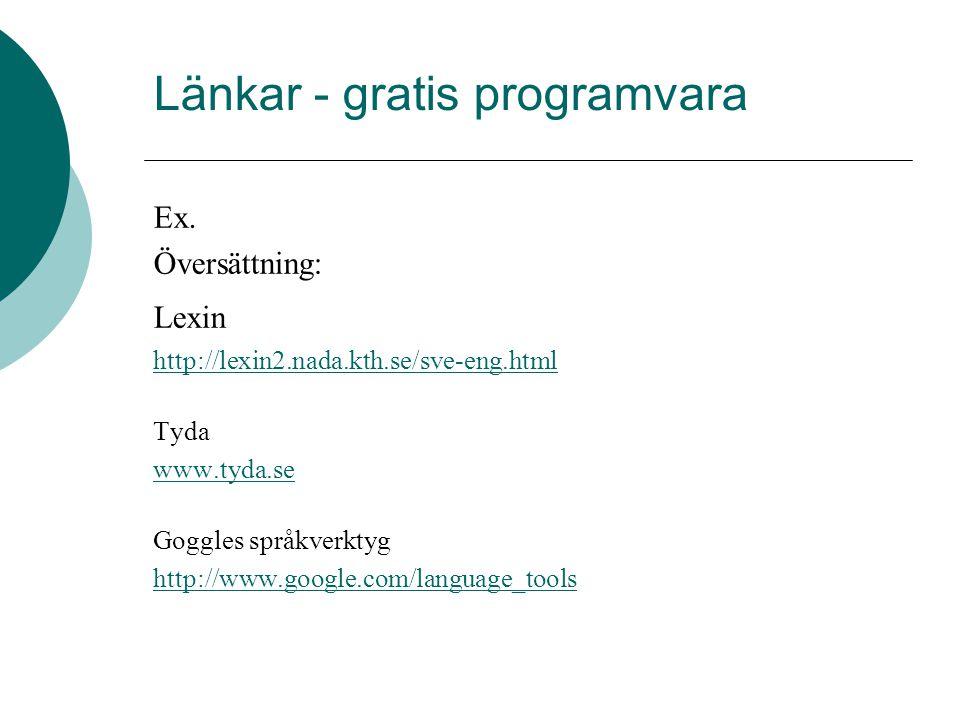 Länkar - gratis programvara Ex. Översättning: Lexin http://lexin2.nada.kth.se/sve-eng.html Tyda www.tyda.se Goggles språkverktyg http://www.google.com