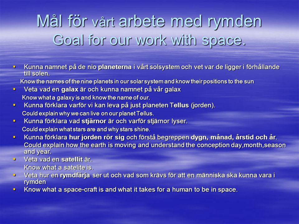 Mål för vårt arbete med rymden Goal for our work with space.  Kunna namnet på de nio planeterna i vårt solsystem och vet var de ligger i förhållande